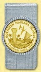 Northern Mariana Islands Quarter Money Clip - with Gold Plated Territorial Quarter