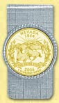 Nevada Quarter Money Clip - with Gold Plated State Quarter