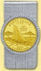 Rhode Island Quarter Money Clip - with Gold Plated State Quarter MAIN