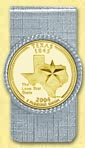 Texas Quarter Money Clip - with Gold Plated State Quarter