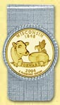 Wisconsin Quarter Money Clip - with Gold Plated State Quarter
