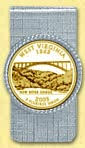 West Virginia Quarter Money Clip - with Gold Plated State Quarter