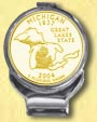 Michigan Quarter Deluxe Money Clip - with Gold Plated State Quarter
