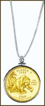 Alaska Quarter Sterling Silver Necklace - with Gold Plated State Quarter