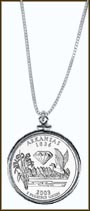 Arkansas Quarter Sterling Silver Necklace