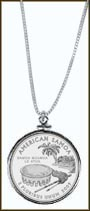 American Samoa Quarter Sterling Silver Necklace