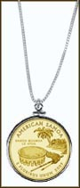 American Samoa Quarter Sterling Silver Necklace - with Gold Plated Territorial Quarter