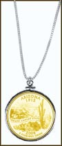Arizona Quarter Sterling Silver Necklace - with Gold Plated State Quarter