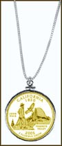 California Quarter Sterling Silver Necklace - with Gold Plated State Quarter