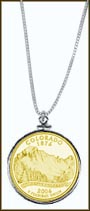 Colorado Quarter Sterling Silver Necklace - with Gold Plated State Quarter