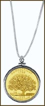 Connecticut Quarter Sterling Silver Necklace - with Gold Plated State Quarter