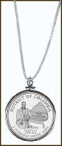 District of Columbia Quarter Sterling Silver Necklace