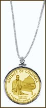 District of Columbia Quarter Sterling Silver Necklace - with Gold Plated Territorial Quarter