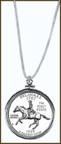 Delaware Quarter Sterling Silver Necklace