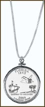 Florida Quarter Sterling Silver Necklace