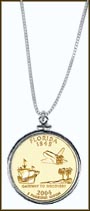 Florida Quarter Sterling Silver Necklace - with Gold Plated State Quarter MAIN