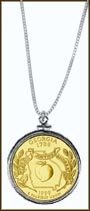 Georgia Quarter Sterling Silver Necklace - with Gold Plated State Quarter