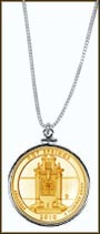 Hot Springs National Park Quarter Sterling Silver Necklace - with Gold Plated State Quarter