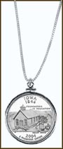 Iowa Quarter Sterling Silver Necklace