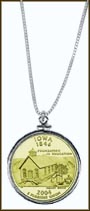Iowa Quarter Sterling Silver Necklace - with Gold Plated State Quarter