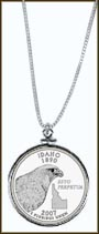 Idaho Quarter Sterling Silver Necklace