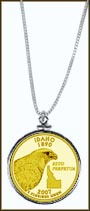 Idaho Quarter Sterling Silver Necklace - with Gold Plated State Quarter