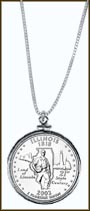 Illinois Quarter Sterling Silver Necklace