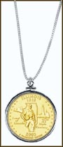 Illinois Quarter Sterling Silver Necklace - with Gold Plated State Quarter