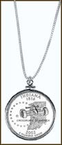 Indiana Quarter Sterling Silver Necklace