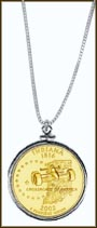 Indiana Quarter Sterling Silver Necklace - with Gold Plated State Quarter