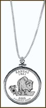 Kansas Quarter Sterling Silver Necklace