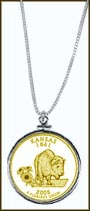 Kansas Quarter Sterling Silver Necklace - with Gold Plated State Quarter