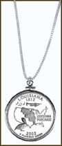 Louisiana Quarter Sterling Silver Necklace