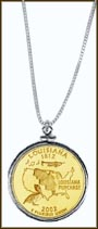 Louisiana Quarter Sterling Silver Necklace - with Gold Plated State Quarter