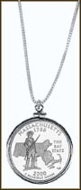 Massachusetts Quarter Sterling Silver Necklace