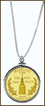 Maryland Quarter Sterling Silver Necklace - with Gold Plated State Quarter