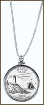 Maine Quarter Sterling Silver Necklace