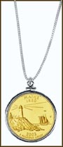 Maine Quarter Sterling Silver Necklace - with Gold Plated State Quarter