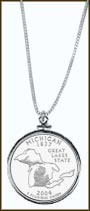 Michigan Quarter Sterling Silver Necklace