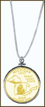 Michigan Quarter Sterling Silver Necklace - with Gold Plated State Quarter
