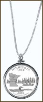 Minnesota Quarter Sterling Silver Necklace
