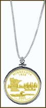 Minnesota Quarter Sterling Silver Necklace - with Gold Plated State Quarter