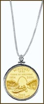 Missouri Quarter Sterling Silver Necklace - with Gold Plated State Quarter