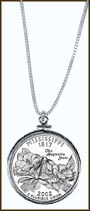 Mississippi Quarter Sterling Silver Necklace