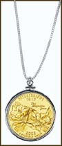 Mississippi Quarter Sterling Silver Necklace - with Gold Plated State Quarter