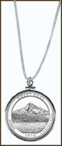 Mt. Hood National Forest Quarter Sterling Silver Necklace