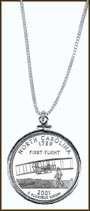 North Carolina Quarter Sterling Silver Necklace