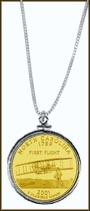 North Carolina Quarter Sterling Silver Necklace - with Gold Plated State Quarter