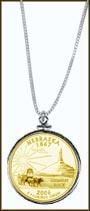Nebraska Quarter Sterling Silver Necklace - with Gold Plated State Quarter