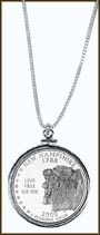 New Hampshire Quarter Sterling Silver Necklace
